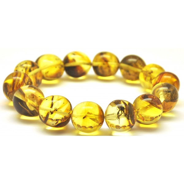 Amber with insects | Baroque beads Baltic amber bracelet with insects