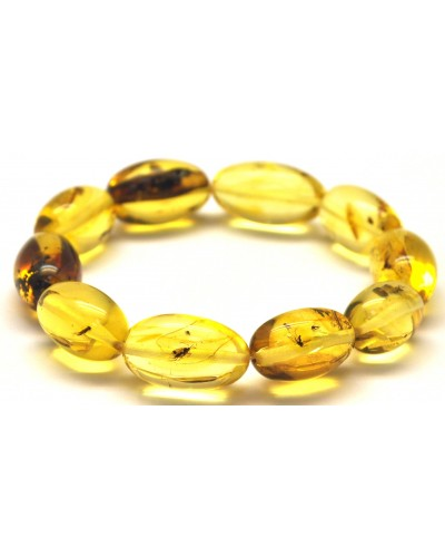 Baltic amber olive shape elastic bracelet with insects
