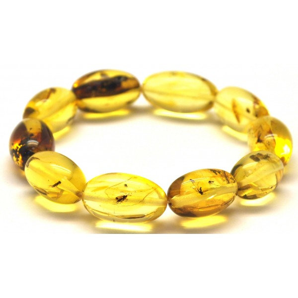 Amber with insects | Baltic amber olive shape elastic bracelet with insects