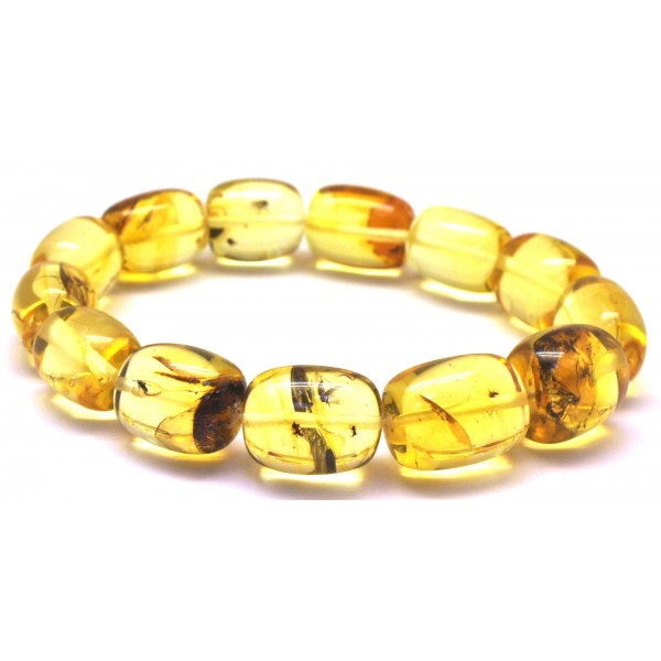 Amber with insects | Barrel shape Baltic amber bracelet with insects