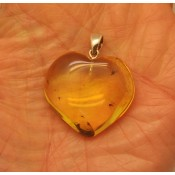 Heart shape Baltic amber pendant with insects