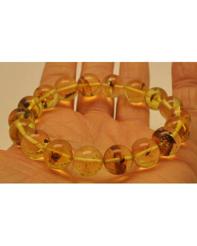 Round beads amber bracelet with insects