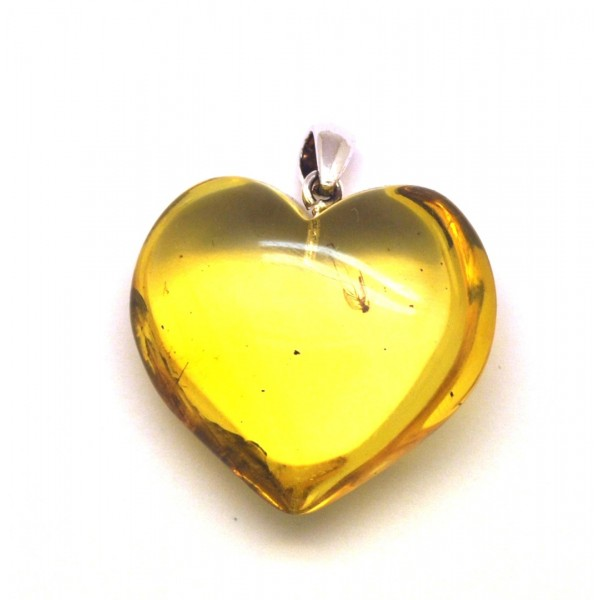 Amber with insects | Baltic amber heart pendant with insect