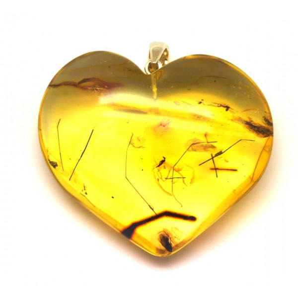 Amber with insects | Big Baltic amber heart pendant with insects