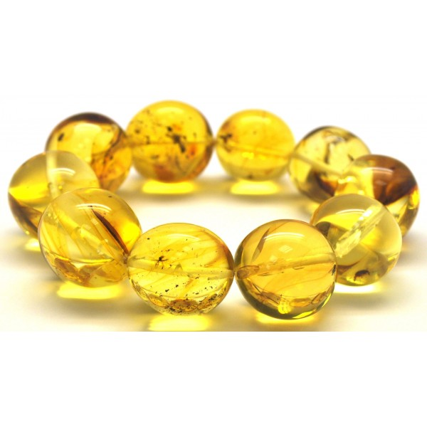 Baroque beads Baltic amber bracelet with insects