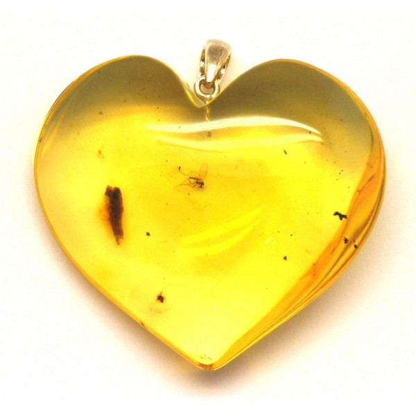 Amber with insects | Big Baltic amber heart pendant with insect