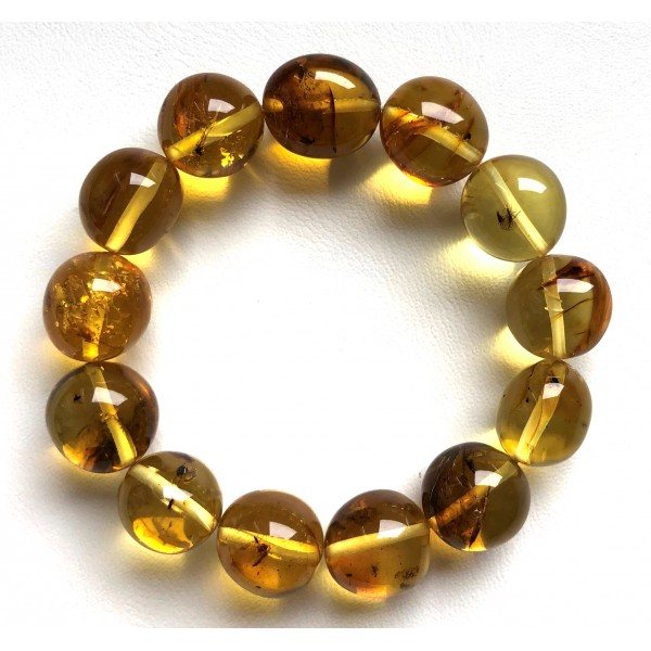 Genuine BALTIC AMBER Bracelet with FOSSIL INSECTS 22g -