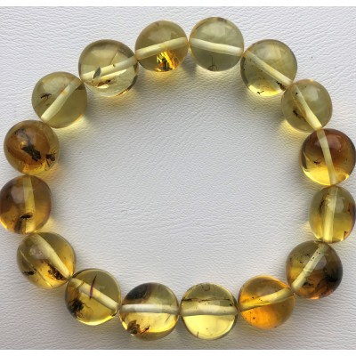 Genuine BALTIC AMBER Bracelet with FOSSIL INSECTS-AI0918