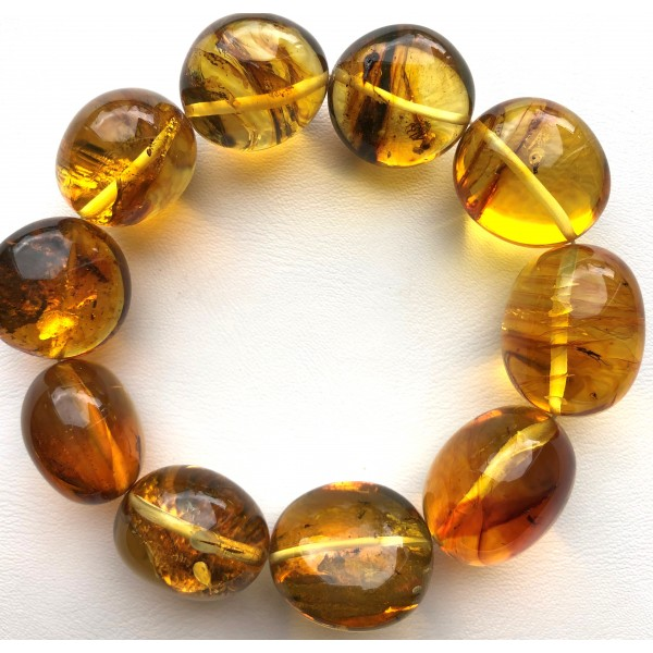 Genuine BALTIC AMBER Bracelet with FOSSIL INSECTS -