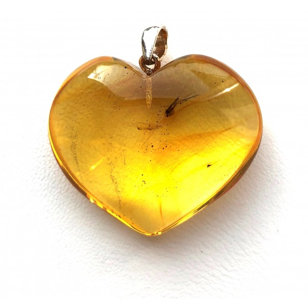 Genuine BALTIC AMBER Heart Pendant with Fossil INSECT -