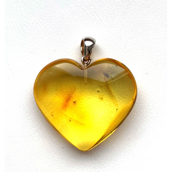 Genuine BALTIC AMBER Heart Pendant with Fossil INSECT 6g -