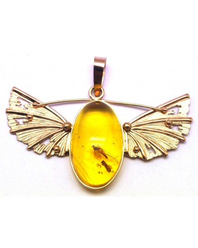 Baltic amber gold pendant with insect