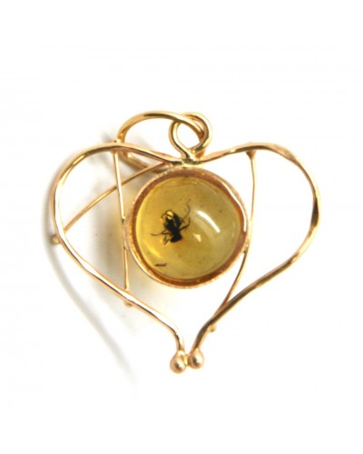Baltic amber heart shape gold pendant with insect