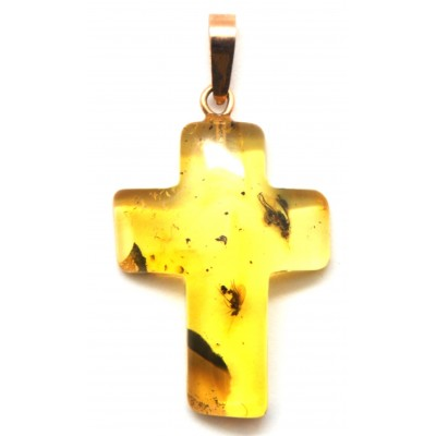 Cross shape Baltic amber gold pendant with insects-AG154