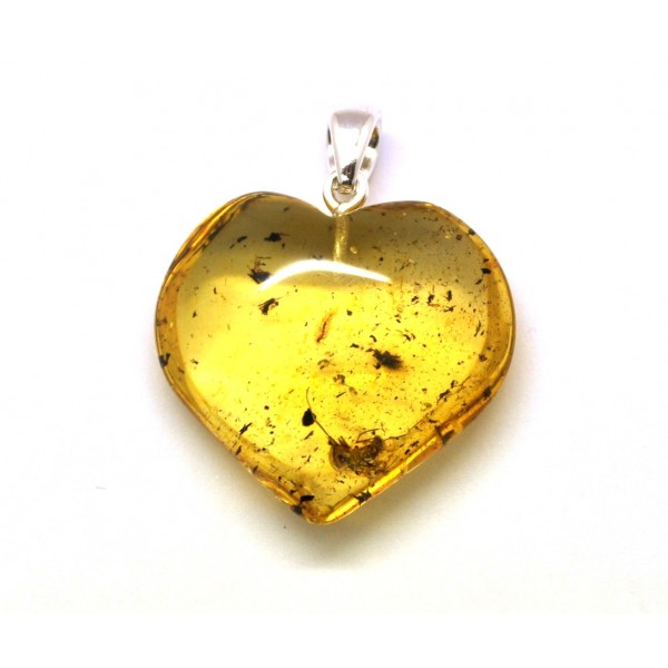 Amber with insects | Baltic amber heart pendant with insects