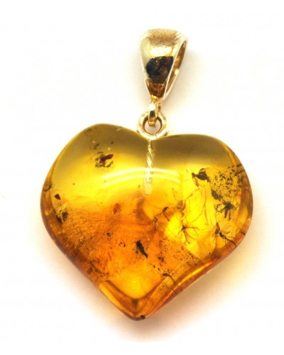 Baltic amber heart pendant with insects