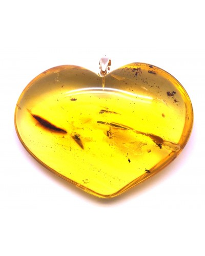 Big Baltic amber heart pendant with insects 23 g.