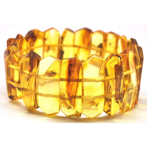 Amber with insects | Faceted Baltic amber bracelet with insects