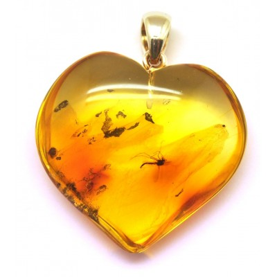 Baltic amber heart pendant with insect-AI0802