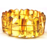 Faceted Baltic amber bracelet with insects