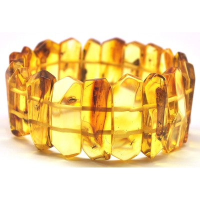 Faceted Baltic amber bracelet with insects-AI0812