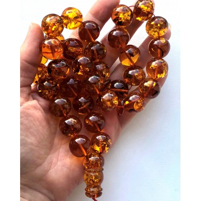 Amber Baltic ROSARY 104,3 Gr  Prayer Beads Islamic Amber