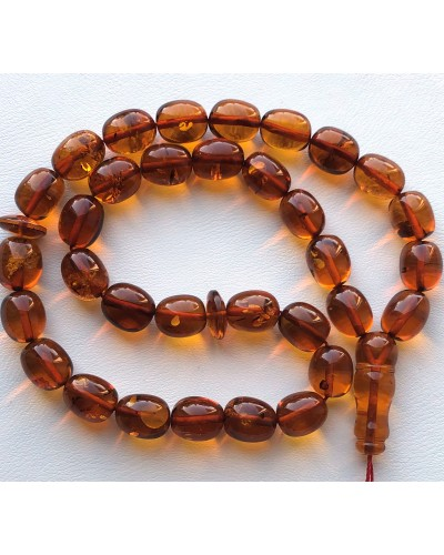 Islamic 33 prayer olive shape amber beads rosary