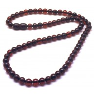 Cherry amber round beads necklace -RAU715
