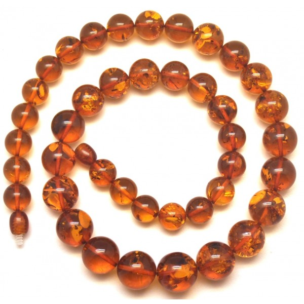 Cognac Baltic amber round beads necklace -RAU703
