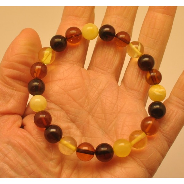 Multicolor round beads amber bracelet 9 - 10 mm.-RAU694