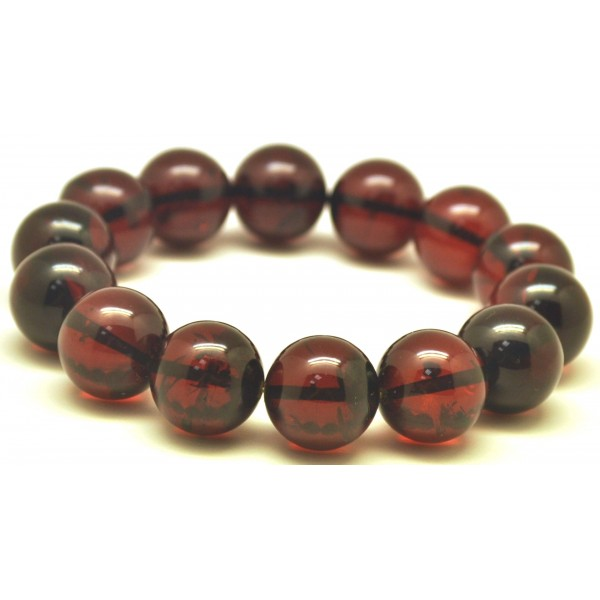 Cherry round beads Baltic amber bracelet  15,5 mm.