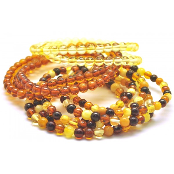 Wholesale | 10 pcs Round beads amber bracelets