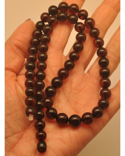 Cherry amber round beads necklace