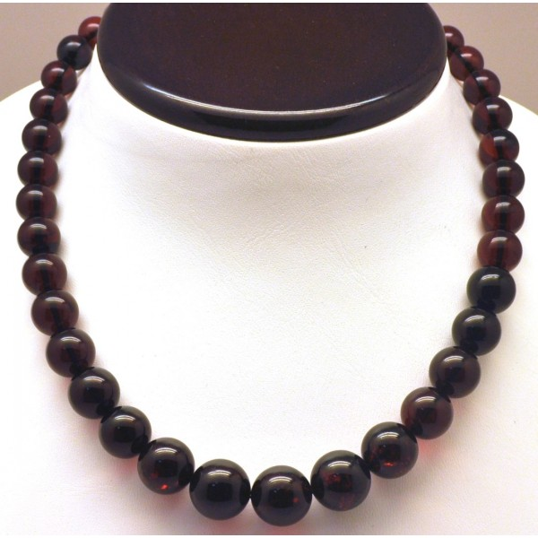 Amber necklaces | Cherry amber round beads necklace