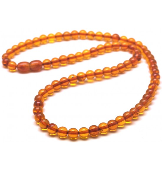 Round beads cognac  Baltic amber necklace