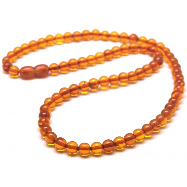 Round amber beads | Round beads cognac Baltic amber necklace