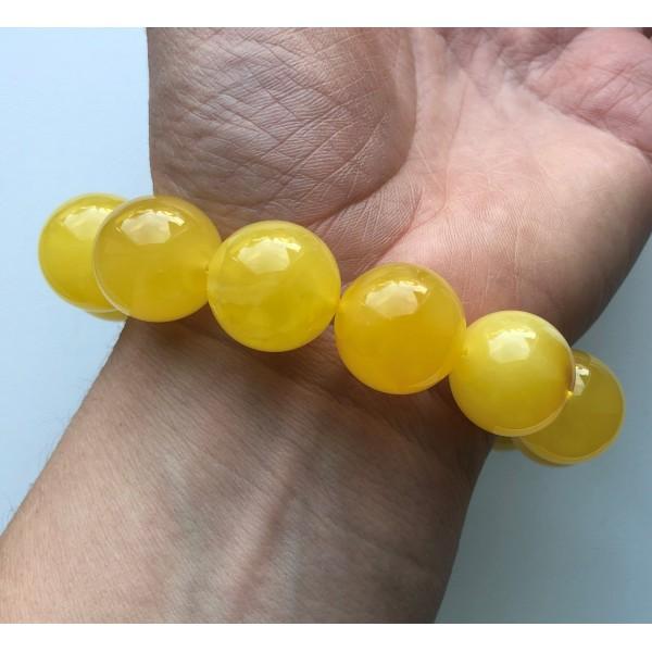 AMBER BRACELET Big Size Natural BALTIC Amber Round Beads Ladies Jewelry Stylish Handmade 22g 11016