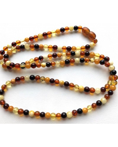 BALTIC AMBER NECKLACE Colorful long Round Beads