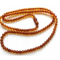 Cognac round Baltic amber beads long necklace -RAU721