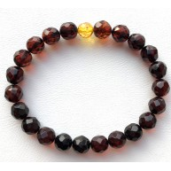 Faceted round beads amber bracelet  8 mm.