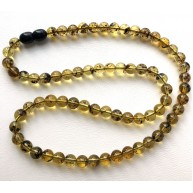 Green Baltic amber round beads necklace -RAU727