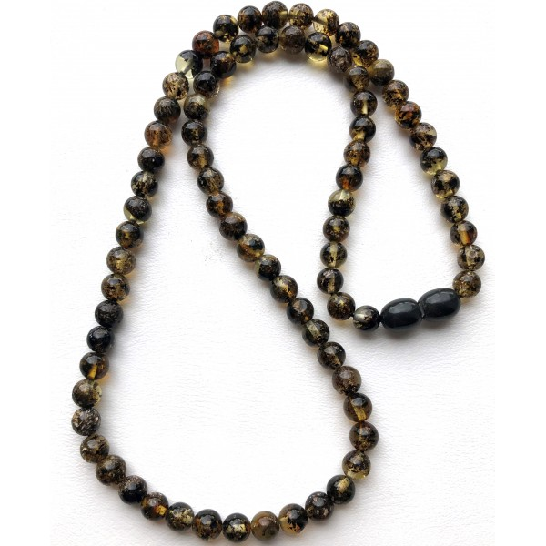 Green Baltic amber round beads necklace -
