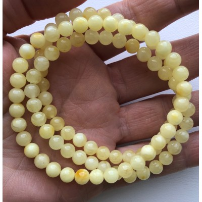 Lot of 3 Natural round beads amber bracelets -RAU724