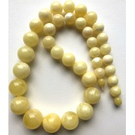 Natural AMBER NECKLACE White Round Beads -RAU729