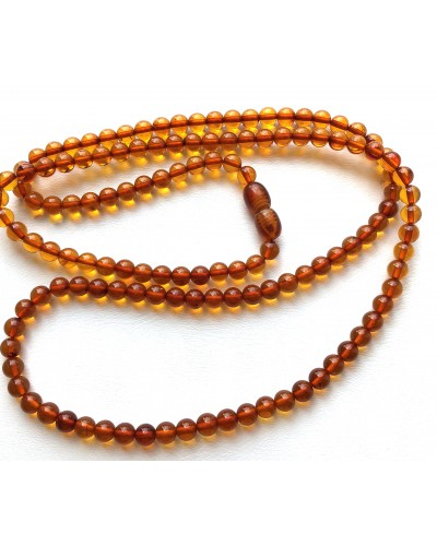 Cognac round Baltic amber beads long necklace