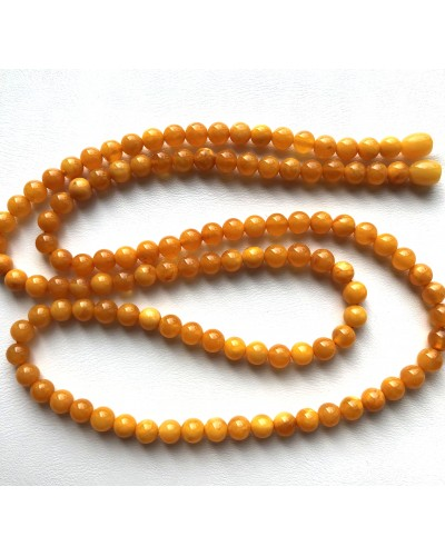 Round beads long antique color Baltic amber necklace