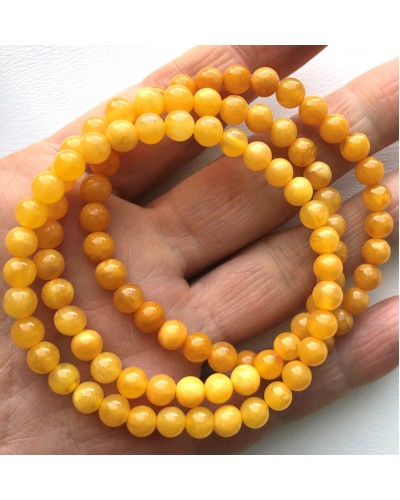 Lot of 3 Antique color round beads amber bracelets