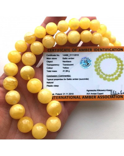 Natural AMBER NECKLACE Yellow White Round Beads(certificate included)