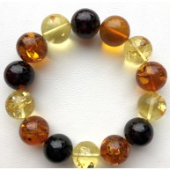 Round beads Baltic amber bracelet 15 mm.