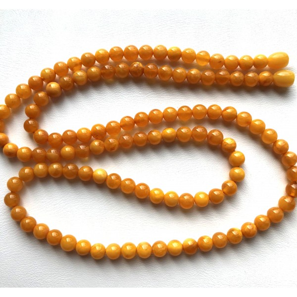 Round beads long antique color Baltic amber necklace -RAU723